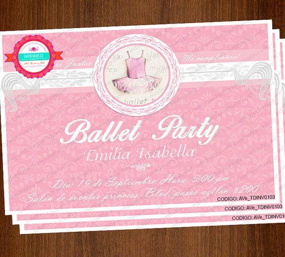 Invitaciones Tutu de Ballet Invitaciones por AVeDisenoImprimible