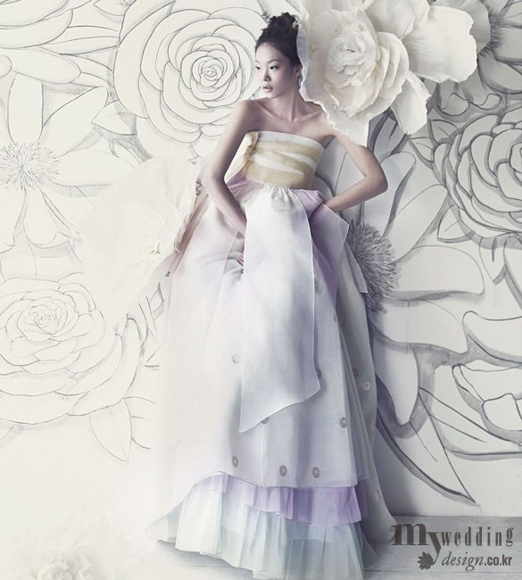 Hanbok Inspired Dress. Look at that backdrop! Clever.