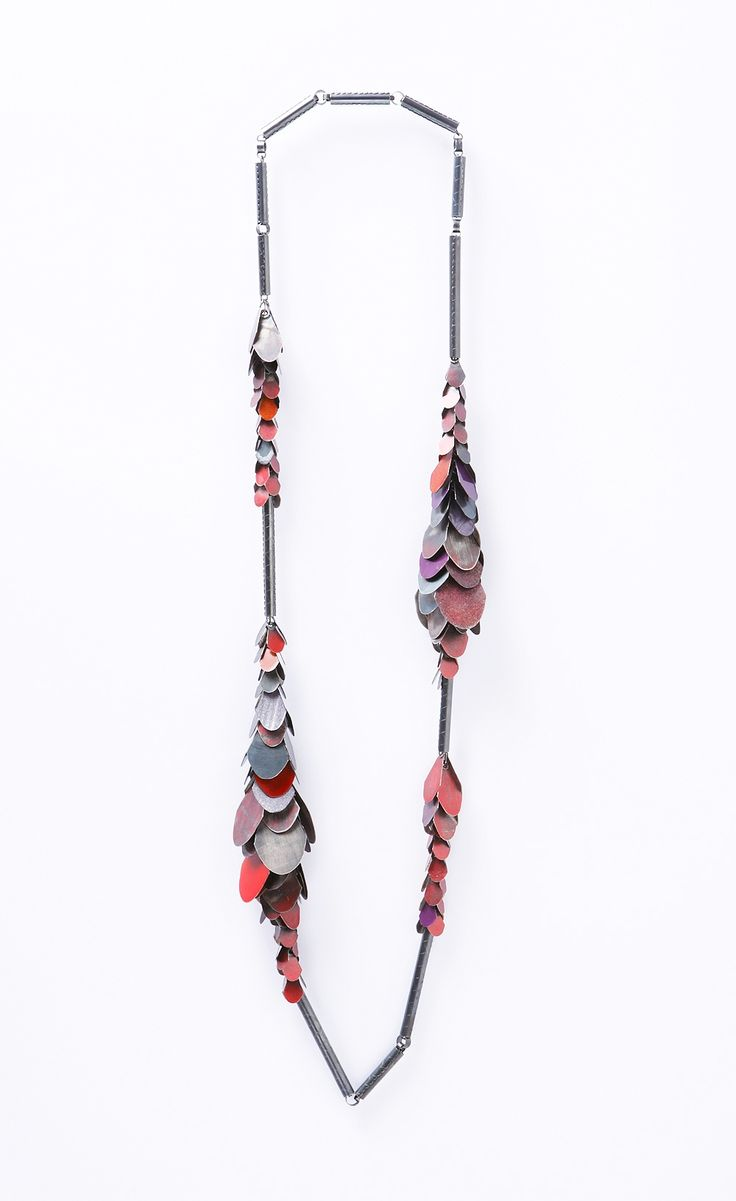 Helen Britton Necklace: Redgrey, 2014 Silver, Paint.