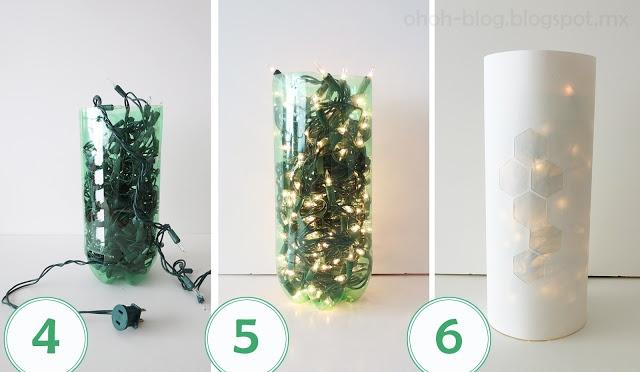 2 liter bottle + paper + string of LED lights = easy lantern