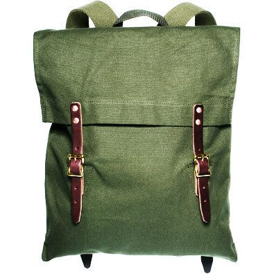 Duluth Pack canvas backpack, olive green, $135, from Kaufmann  Mercantile