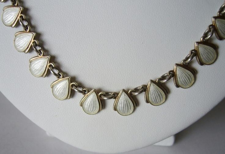 VB white guilloche enamel necklace by Volmer Bahner.