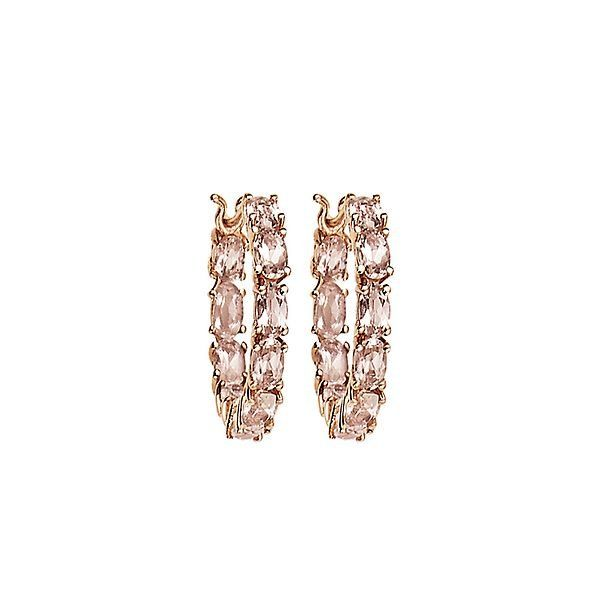 Morganite Hoop Earrings In 10k Rose Gold Diamond Earrings Studs Round Princess Diamond Earrings Morganite Earrings
