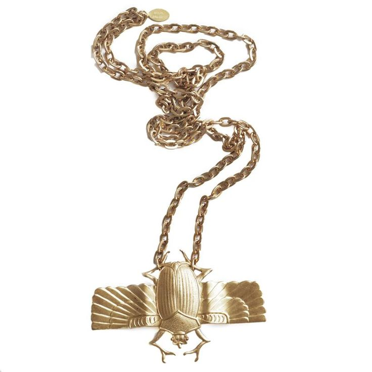 Raw brass scarabe stamping on strong brass chain.