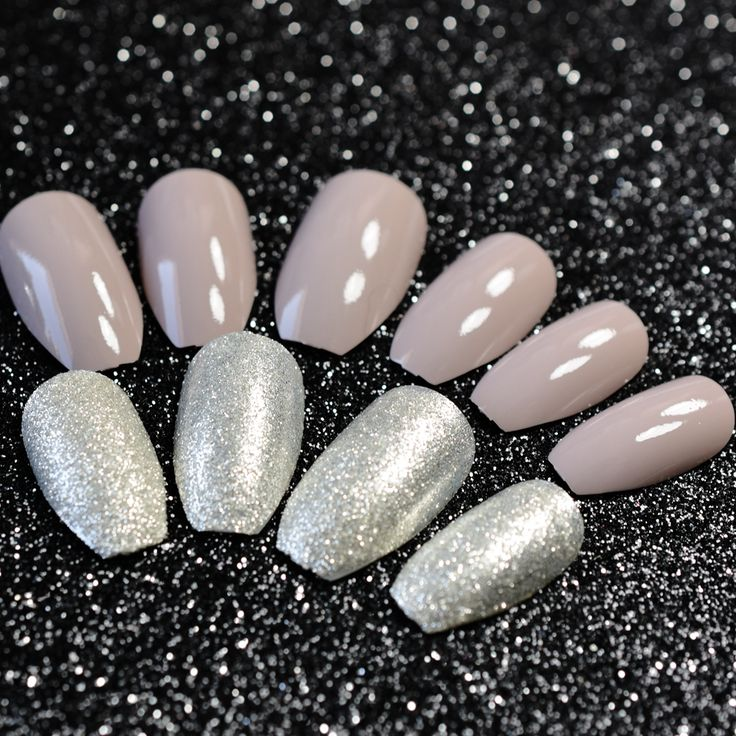 Sparkly Silver Gray Ballerina Coffin Acrylic Nail Tips with Silver Glitter Dust Fake Nails Square Head False Nails #Coffin nails http://www.ku-ki-shop.com/shop/coffin-nails/sparkly-silver-gray-ballerina-coffin-acrylic-nail-tips-with-silver-glitter-dust-fake-nails-square-head-false-nails/