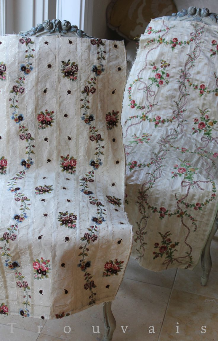 Antique French Textiles, 18th Century. Posted by Trish in Antique Fabric; reposted at Trouvais