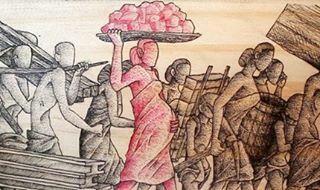 "Karya Dicky dan Rizky dalam pameran seni rupa ""Zona#1: Versi-Resepsi"" yang mengisahkan Romusha (kerja paksa) pada zaman penjajahan Jepang di Indonesia di Thee Huis Gallery – Taman Budaya Jawa Barat, Jalan Bukit Dago Selatan, No.53 A."