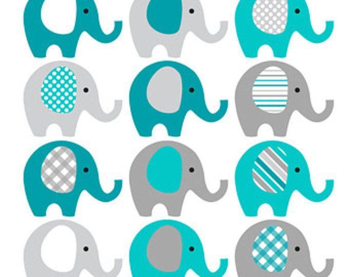 Verde azulado y gris elefante Clip Art - descargar INSTANT - bebé muchacho bebé ducha elefantes imágenes prediseñadas