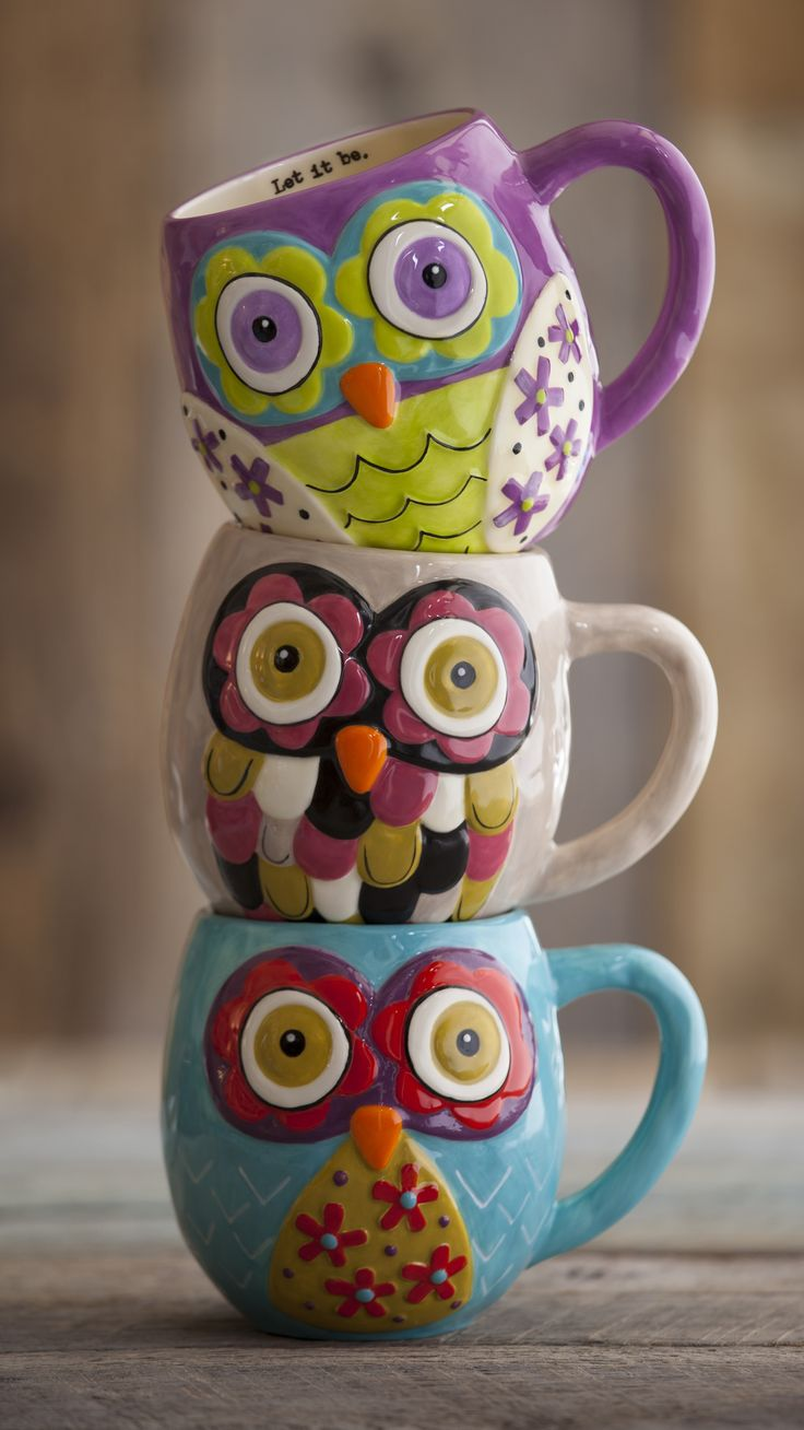 colorful owl mugs... I have the one in the middle... its my favorite mug!