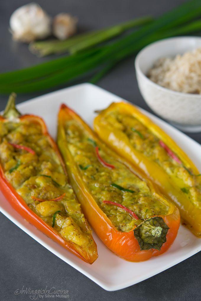 Peperoni ripieni con curry di pesce