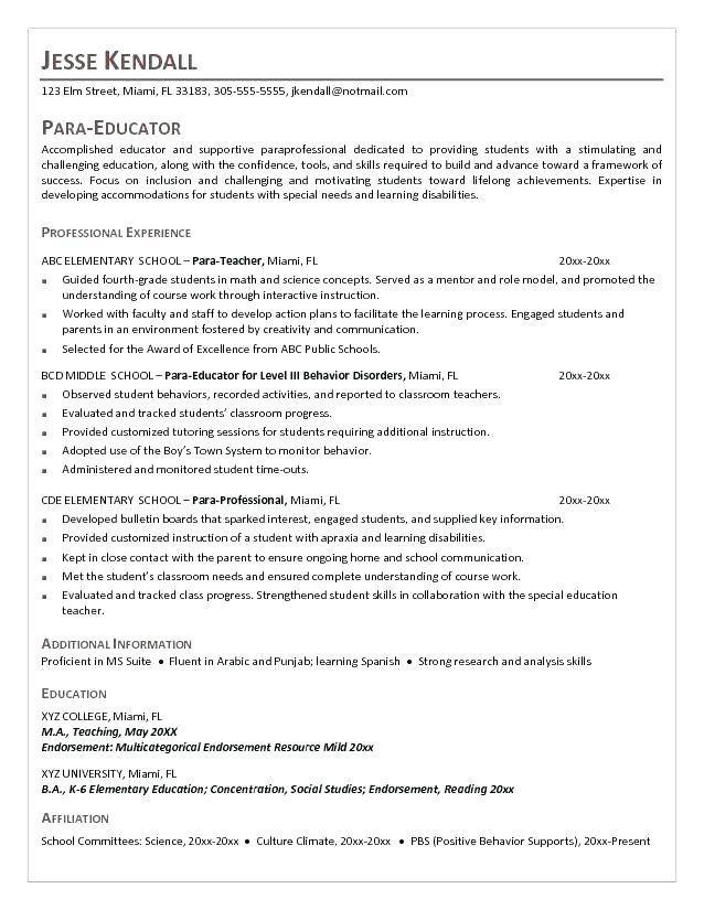 Image Result For Resume For Teaching Paraprofessional Jobs For Teachers Middle School Teachers Teaching Assistant Job Description