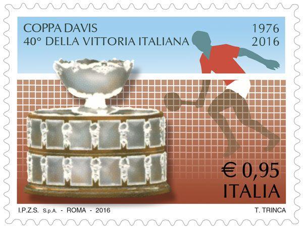 """Francobollo ordinario appartenente alla serie tematica """"lo Sport"""" dedicato alla Coppa Davis, a 40 anni dalla vittoria dell'Italia"""