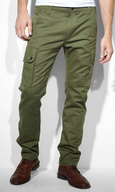 As you can see right here, they'll look great with a pair of leather wingtips.  508 regular taper cargo pants ($78) by Levi's