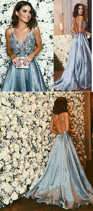 Luxurious A-line Straps Prom Dresses,Blue Long V neck Prom Dress,Backless Formal Evening Dress,prom dress 2017,prom dresses 2017