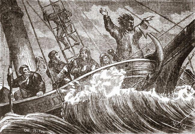 """Cette gravure illustre un des épisodes les plus étonnants de la traversée de la mer du Nord. Le 21 septembre 1880, au large de l'archipel d'Héligoland, près des côtes allemandes le bateau qui transportait les Inuits fut soudain pris dans une tempête. Tigianniak se précipita alors à la proue et se mit à gesticuler en poussant des hurlements. Un des Esquimaux expliqua à l'équipage que le sorcier était """"en train de faire de la magie pour avoir du bon vent"""" / © M. Hoffmann"""