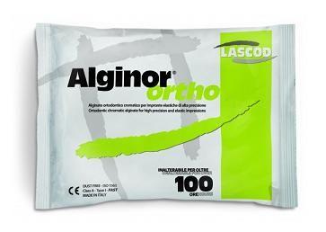 ALGINOR ORTODÓNTICO 450 g • Cromático ortodóntico • Tixotrópico • Compatible con todos los yesos • Alta estabilidad dimensional y resistencia • Fraguado rápido - Cod 1001
