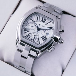 Replica Cartier Roadster Chronograph stainless steel silver dial imitation watch for men $249