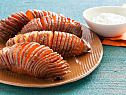 Hasselback Sweet Potatoes Recipe- will def reduce the 1 1/2 stix of butter it calls for but still sounds good!