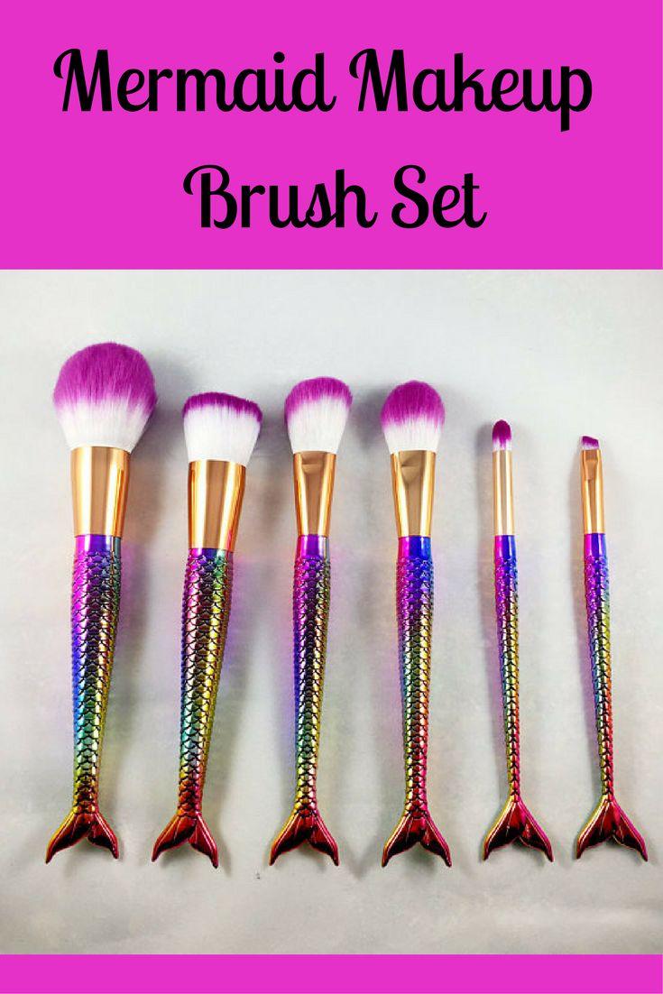 Mermaid Makeup Brush Set of 6 Rainbow (sponsored