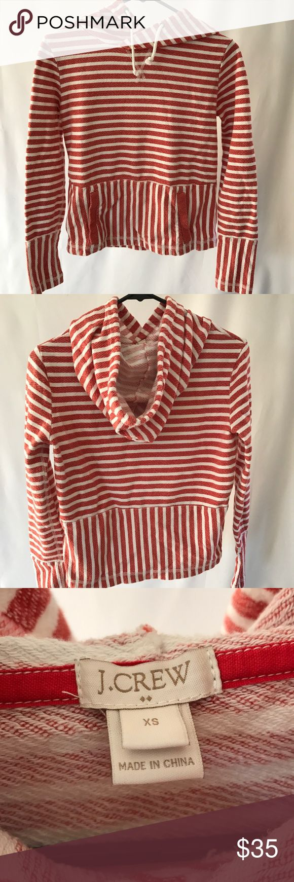 J.Crew Red and White Striped Hoodie An extra small warm and cozy J.Crew striped hoodie with a kangaroo pocket J. Crew Jackets & Coats