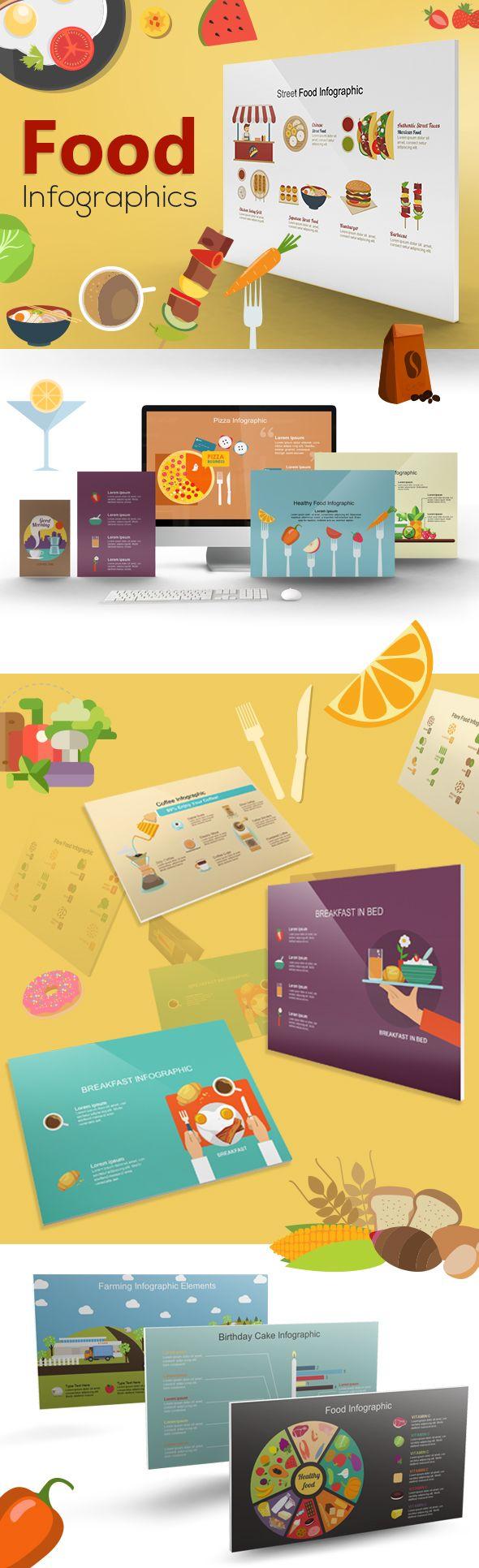 Mega Food Powerpoint Infographic Set Desain Grafis Grafis Desain