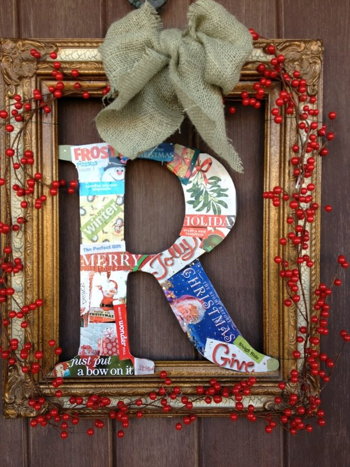 My easy to make front door project. Empty picture frame with decorated initial made from pre-cut letter and decoupaged magazine cut-out sayings and pictures. Plan to make different ones for other times of the year.