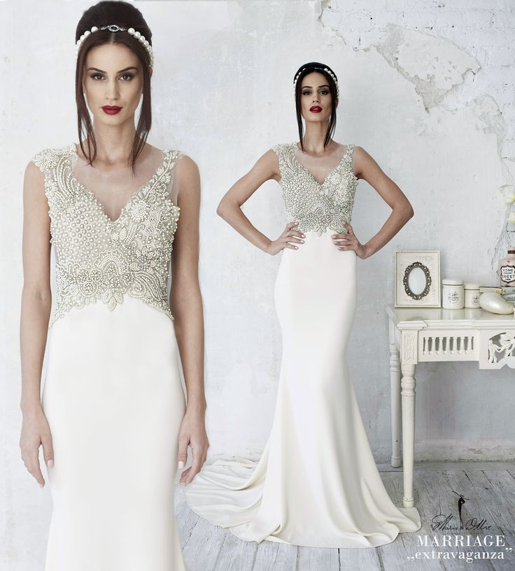 """Marie Ollie, Marriage ,,extravaganza"""" wedding dress, embroidery, hand-made"""
