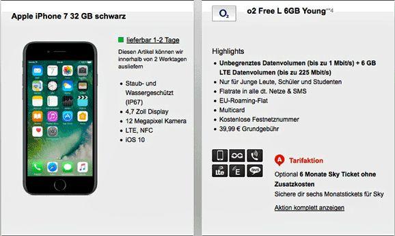 o2 Free L 6GB Vertrag mit Apple iPhone 7 für 1,00€ Optional 6 Monate Sky Ticket ohne Zusatzkosten , im Free L enthalten eine Allnet-Gesprächsflat in alle Netze , Allnet-SMS-Flat und eine 6GB LTE Internet-Flatrate LTE fähig, bis zu 225 Mbit/s, ab 6000 MB Unbegrenztes Datenvolumen bis zu 1 Mbit/s im O2 Netz.