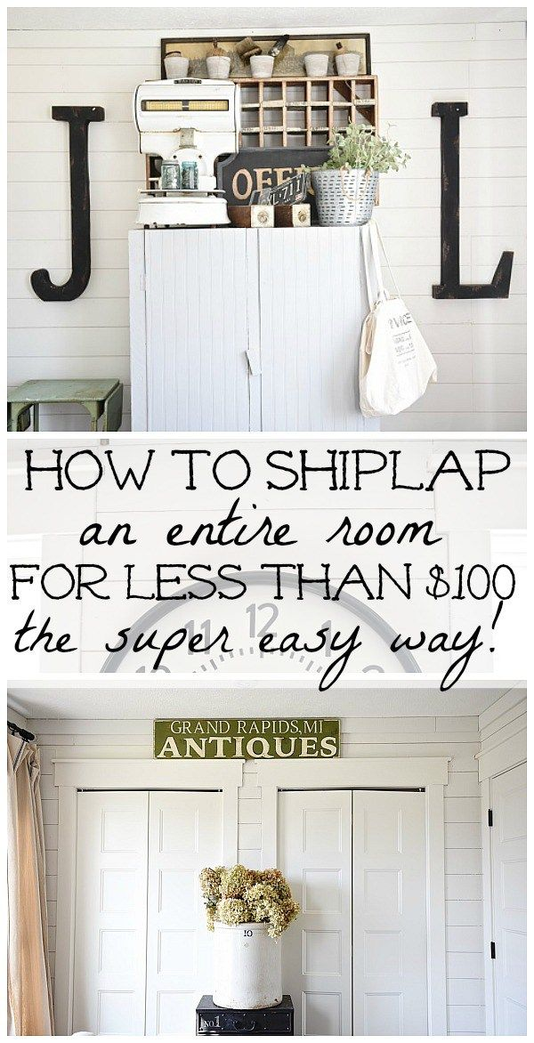 DIY shiplap walls - How to shiplap an entire room for LESS THAN $100. A full tutorial on how to shiplap the easy way & the cheapest way for a huge impact. A must pin for future shiplap projects!