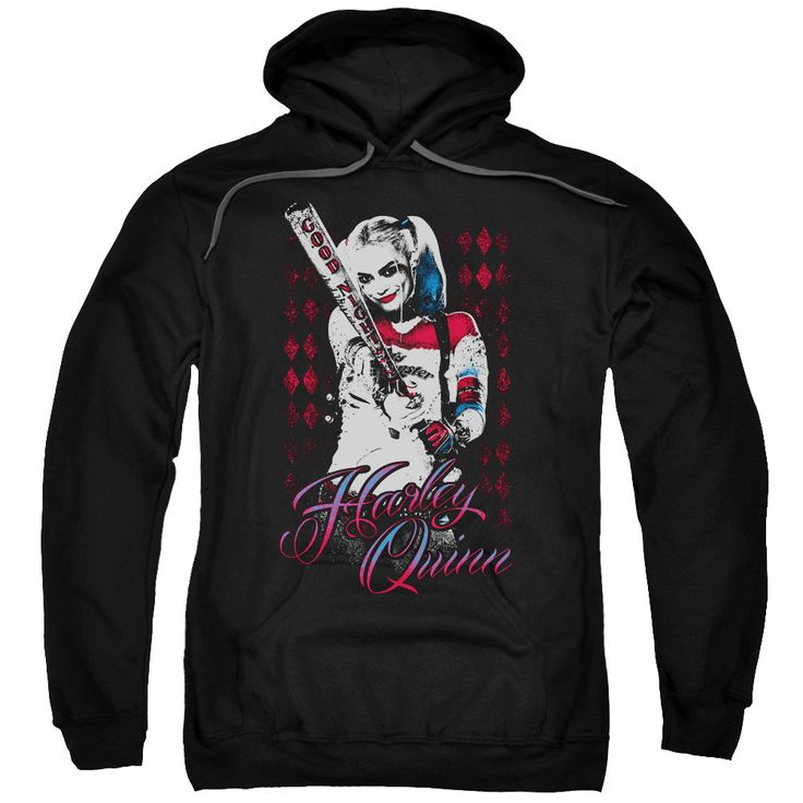 Suicide Squad Harleys Bat Adult Hoodie - Officially Licensed - High Quality - 75% Cotton / 25% Polyester Blend - Premium Ringspun Cotton - Double-Needle Cuffs - Pouch Pocket