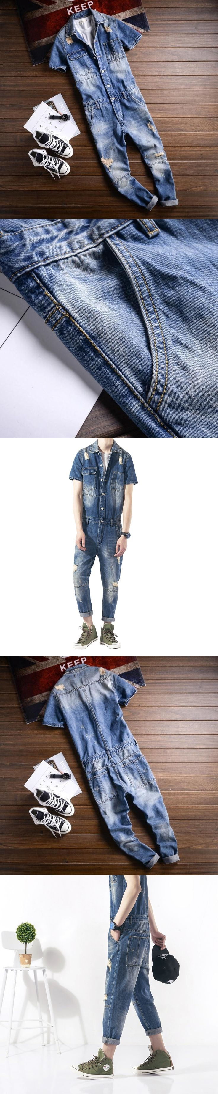 2017 New Men's Short Sleeves Denim Overalls Men Casual Blue Jeans Jumpsuits For Men With Holes Denim Overalls Size M-XXL