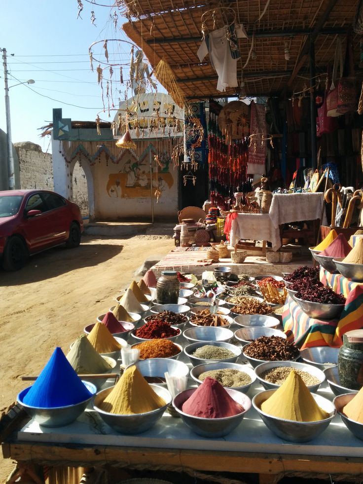 Spices colors in Gharb Seheil Nubian village in Aswan, Egypt