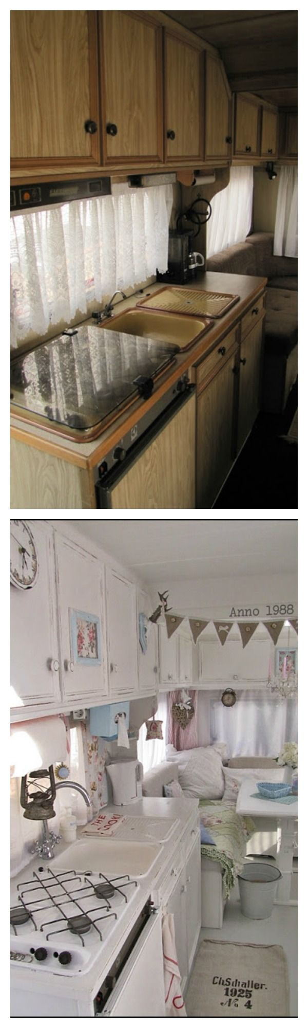 Rv camper Before and After renovation decor