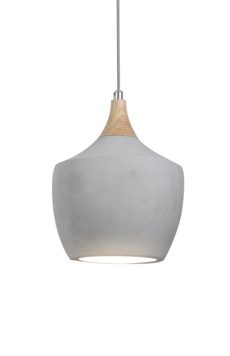 The Beacon Lighting Sculpt Drop Pendant In Concrete With Ashwood And Chrome Detail