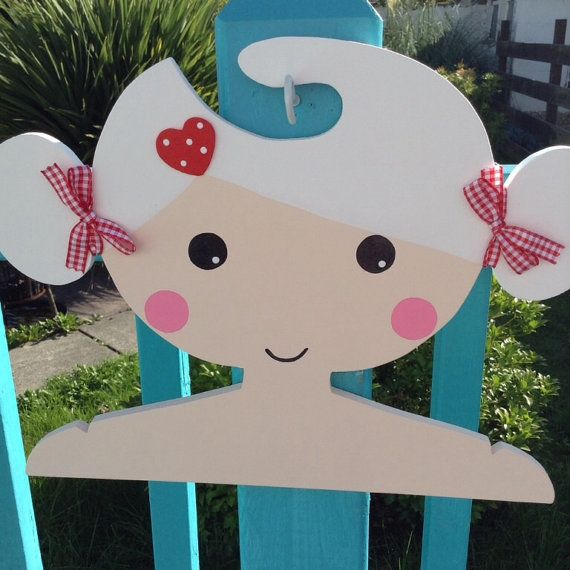 Childrens Clothes Hanger with White Hair and buns by Daisymooo