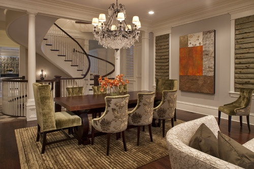Quite the staircase!   Kenmore Dining Room A - traditional - dining room - chicago - Michael Abrams Limited: Decor, Idea, Traditional Dining Rooms, Abrams Limited, Michael Abrams, Dinning Room, Staircase, Diningroom, Design