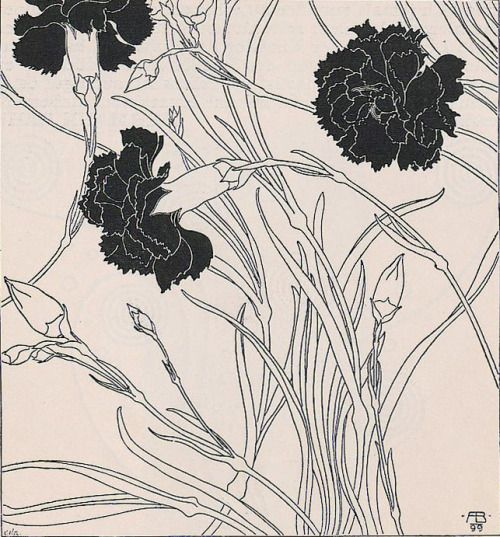 zombienormal: Carnations, Adolf Böhm (signed 1899), Ver Sacrum, 1901. Via.