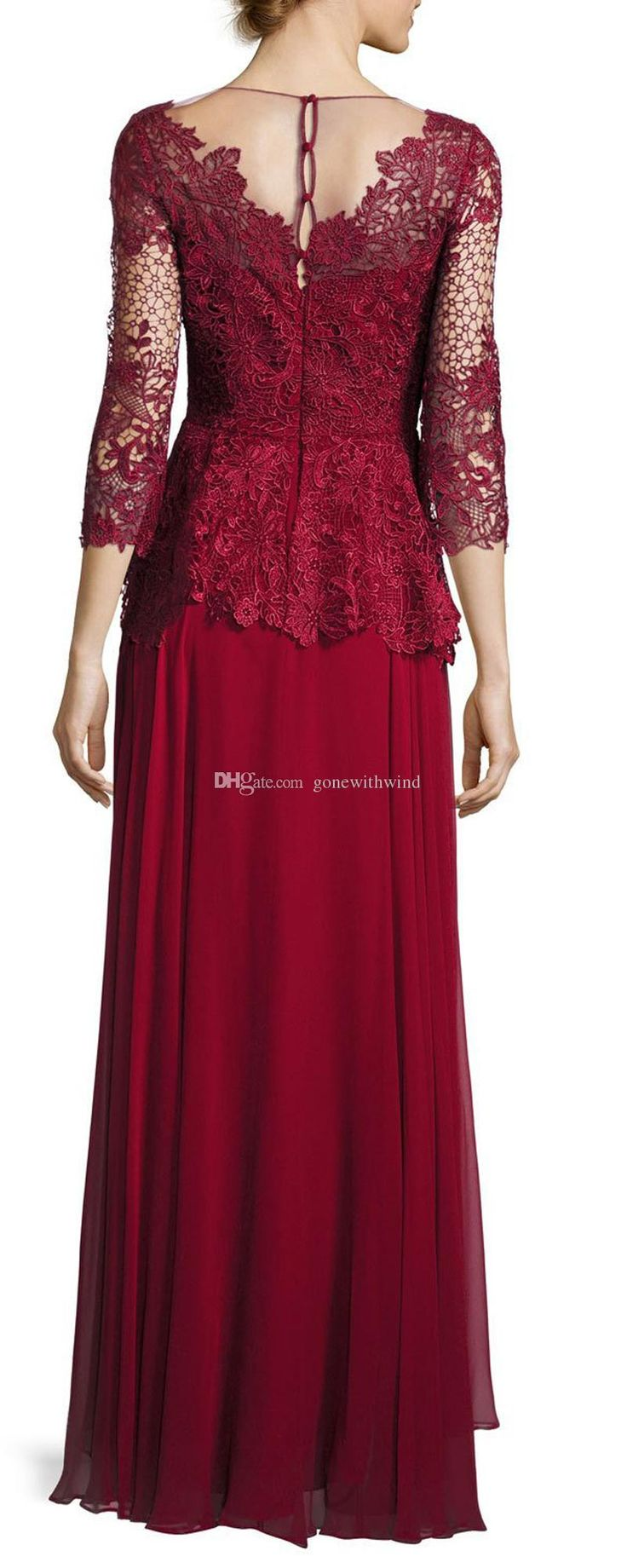 dark red mother of the bride dresses lace bodice and silk chiffon skirt evening gown 3/4 sleeve peplum waist Round neckline scalloped