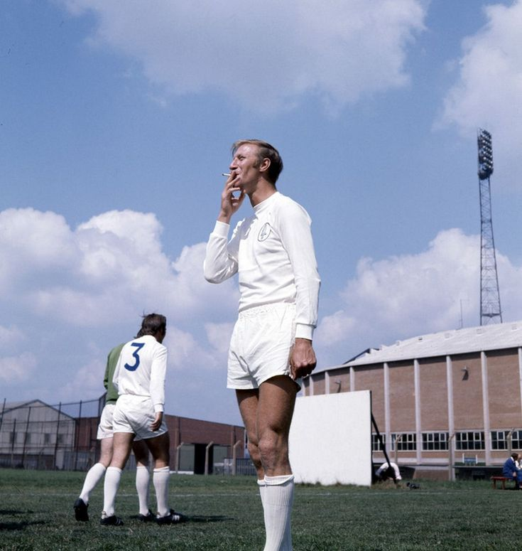 Leeds United footballer Jack Charlton smoking a cigarette during a training session August 1970