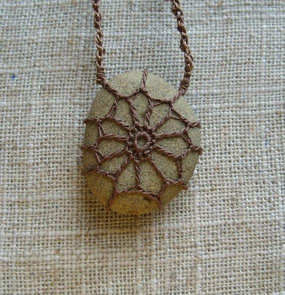 Crochet Stone . Lace Stone . River Rock Necklace . Bohemian Necklace