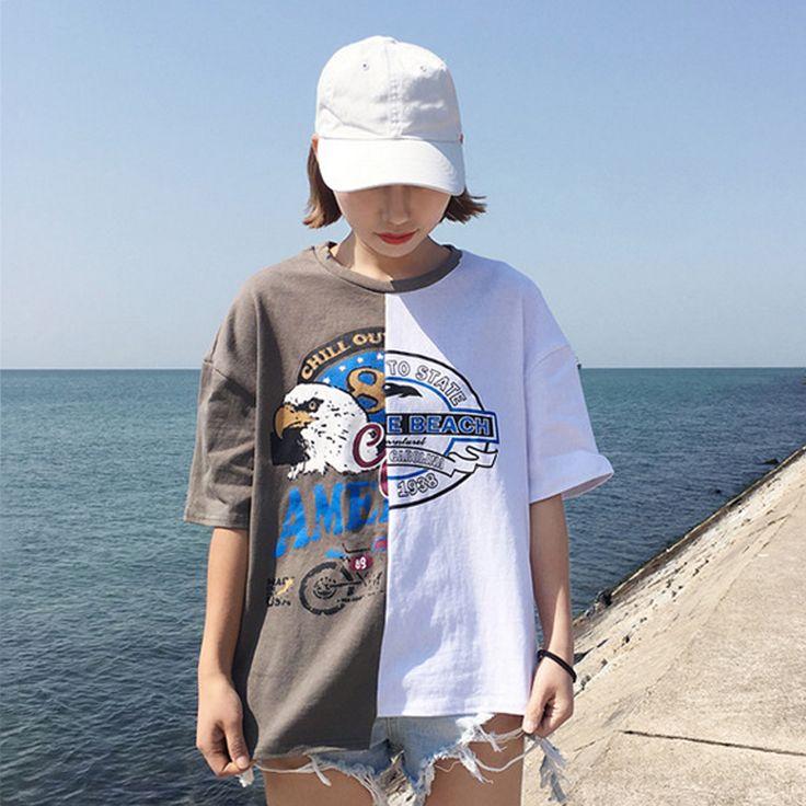 レディースファッション通販バイカラー リメイク風 アシンメトリー プリント Tシャツ カットソー