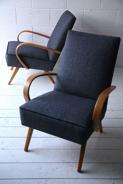 Pair of 1950s Beech Armchairs
