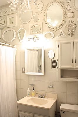Mirror, mirror on the wall..Vintage Mirrors, After Dinne Design, Empty Frames, Bathroom Mirrors Messages, Afterdinn Design, Bathroom Wall, Bathroom Decor, White Mirrors Frames, Mirrors Mirrors
