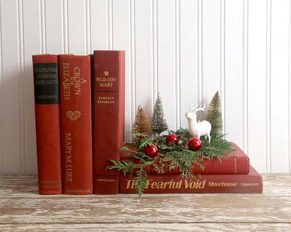 Vintage Red Books Books For Decor Red Books For Christmas Vintage Book Decor Vintage Christmas Decorations Christmas Decorations