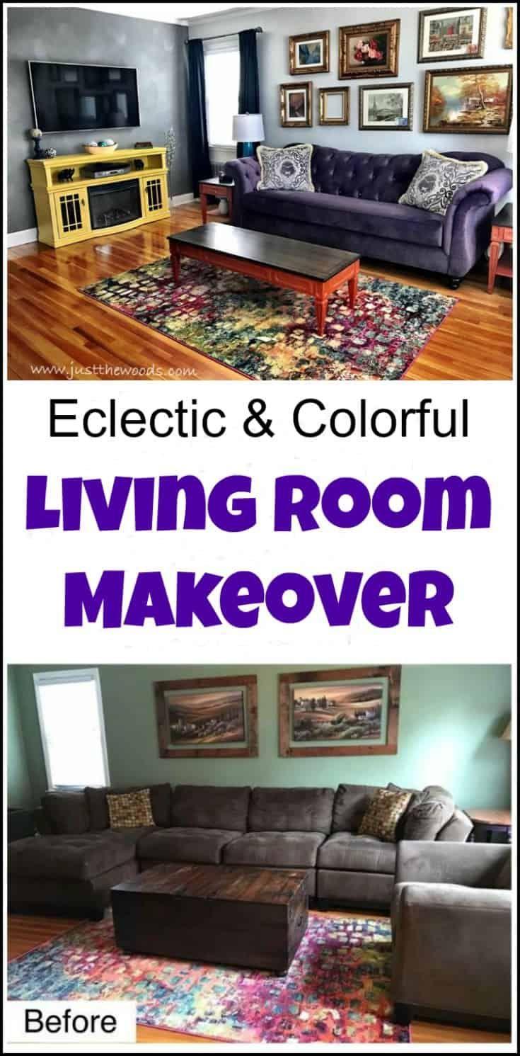 an eclectic living room makeover just the woods llc pinterest rh pinterest ca