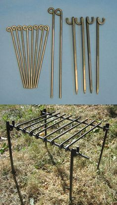 CJ Forge Camp Grill - Grill with 4 corner stakes, 2 crossbars and 8 grill bars. Grill disassembles for easy storage and packing when camping.