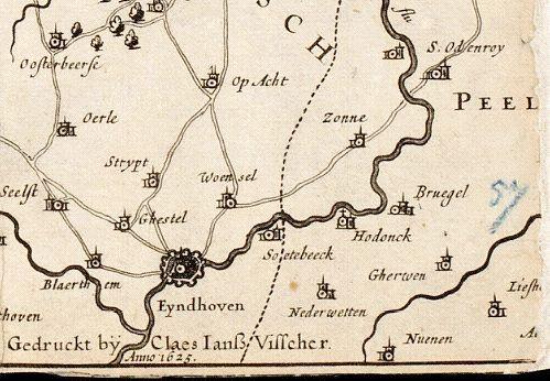Vesting Eindhoven in 1625, Noord is schuin naar rechtsboven