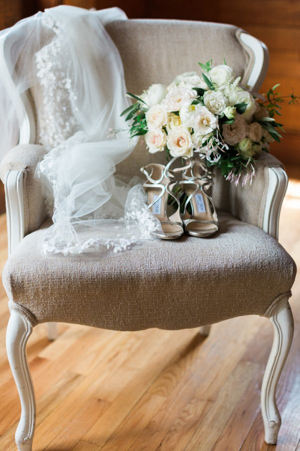 Silver Wedding Shoes by Jimmy Choo | Veil by Anne Barge | photography by http://www.erinmcginn.com/