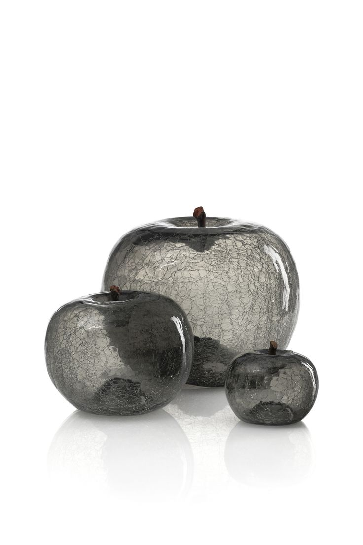 Family of grey crackle glaze glass apples.
