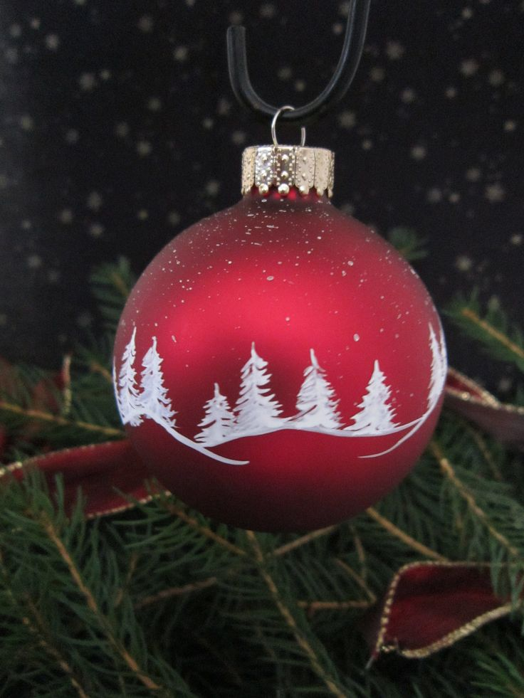 Handpainted Glass Christmas Ornament. Would work with red or green color